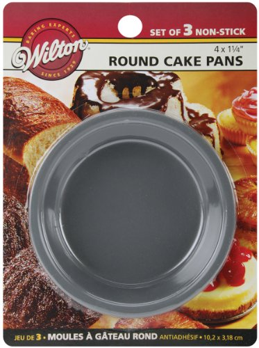 Wilton 2105-1829 Mini Round Pans, 4 by 1.25-Inch, Set of 3 (Mold Bread Round)