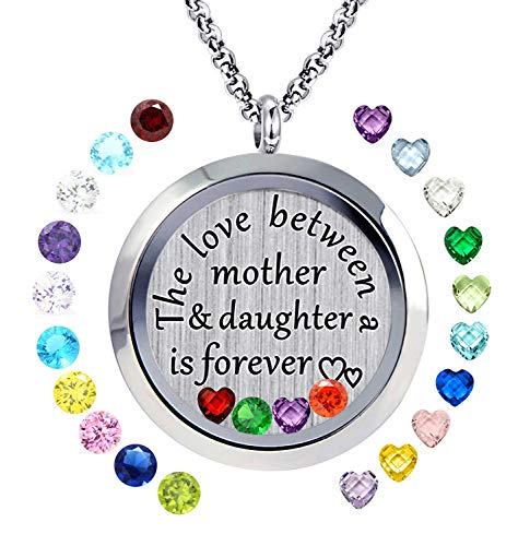 YOUFENG Floating Living Memory Locket Pendant Necklace Family Tree of Life Birthstone Necklaces (Mom Daughter Locket)