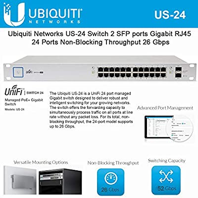 UniFi Switch 24 US-24 Managed Gigabit Switch with SFP 2 SFP Port RJ45 26 Gbps