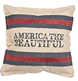 Primitives by Kathy Patriotic America the Beautiful Cotton Throw Pillow, 15-Inch Square
