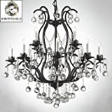 WROUGHT IRON CRYSTAL CHANDELIER CHANDELIERS LIGHTING DRESSED W/ CRYSTAL BALLS Review