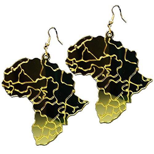 Africa Golden Map Laser Cut Acrylic Earrings by Acylistry
