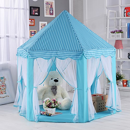 Pericross Kinder Spielzelt Prinzessin Haus für 3-4 Kinder Blau