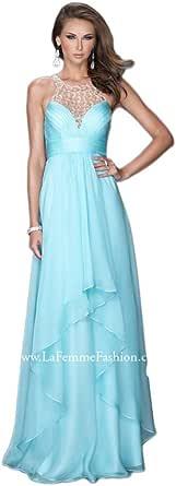 Amazon.com: La Femme 20060 Beaded Halter Long Prom Dress