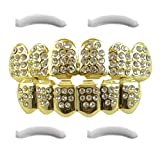 14K Gold Plated Iced Out Grillz with CZ Diamonds – Top and Bottom Set + 2 EXTRA Molding Bars Included