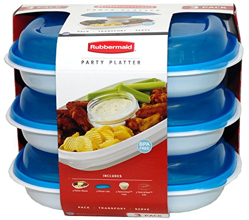 Rubbermaid Party Platter 3 Pack (Blue) by Rubbermaid