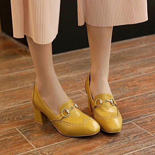 Latasa Womens Chunky Heel Loafers Dark Yellow ogYGqzLX1
