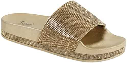 051760df7ca Solemate Women s Rhinestone Glitter Crystal Slide Footbed Platform Sandal  Slippers