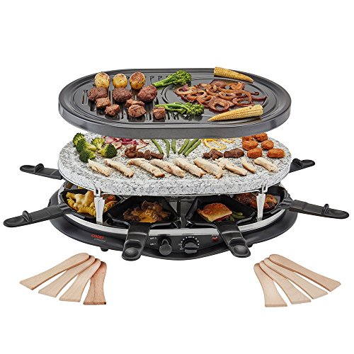 Traditional Raclette Grill, Natural Stone & Non-Stick Metal Plates 2 in 1,...