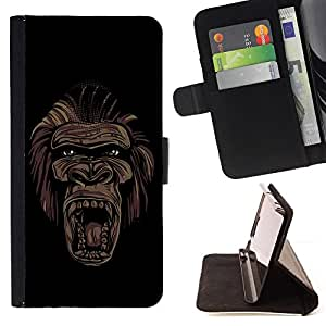 KingStore / Leather Etui en cuir / Apple Iphone 5C / Cool Art Gorila Cara del mono de la pintada de la calle