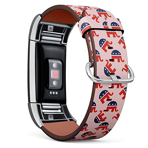 Replacement Leather Strap Printing Wristbands Compatible with Fitbit Charge 2 - Republican Elephants Pattern on red Stripes