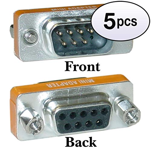 (GOWOS (5 Pack) Mini Null Modem Adapter, DB9 Male to DB9 Female)