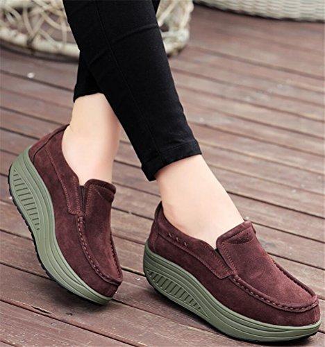 Chaussures Mocassins Pour Femmes Plate-forme, Fausse Fourrure Doublée Bottines Hiver Baskets 4 Couleurs Taille 5-8 Marron