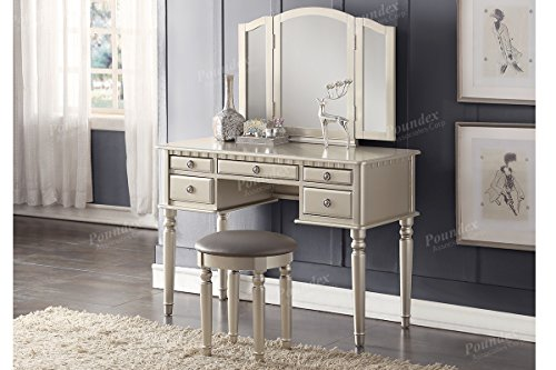 Antique Bedroom Sets White (Bobkona F4079 St. Croix Collection Vanity Set with Stool, Silver)