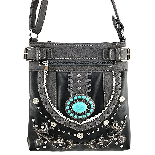 Justin West Tooled Gleaming Turquoise Stone Floral Laser Cut Rhinestone Messenger Bag Purse with Long Cross Body Strap (Black Pewter)