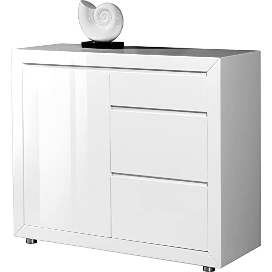 Buffet laqué blanc 2 portes 3 tiroirs Jeno: Amazon.fr: Cuisine ...