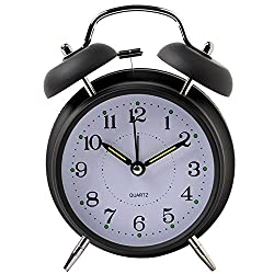 Yxaomite Twin Bell Alarm Clock 4 Home Decor Bedside Desk Clock Vintage Silent Loud Mute Quartz Analog Retro with Stereoscopic Dial Backlight Battery Operated Non-Ticking for Kids Bedroom (Black)