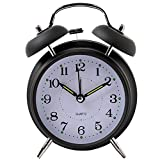 Yxaomite Twin Bell Alarm Clock 4'' Home Decor Bedside Desk Clock Vintage Silent Loud Mute Quartz Analog Retro with Stereoscopic Dial Backlight Battery Operated Non-Ticking for Kids Bedroom (Black)