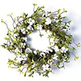 "22"" Cotton Wreath Farmhouse Natural Cotton Boll Rustic Floral Round Wreath with Artificial Green Leaves for Outdoor Indoor Wedding Centerpiece Welcome Decor"
