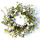 22' Cotton Wreath Farmhouse Natural Cotton Boll Rustic Floral Round Wreath with Artificial Green Leaves for Outdoor Indoor Wedding Centerpiece Welcome Decor