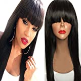 NiceToBuy Glueless Silky Straight Lace Front Wig with Bangs Brazilian Virgin Human Hair Wigs for Women #1 Jet Black Color 16inch