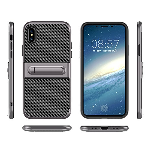 iPhone x case new style carbon ultra-thin for iPhone 10 Shockproof Hybrid Carbon Fiber Soft TPU Stand Case Cover For iPhone x (gray)