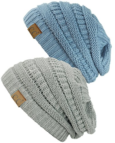 C.C Trendy Warm Chunky Soft Stretch Cable Knit Beanie Skully, 2 Pack Natural Gray/Denim