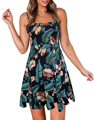 (YIBOCK Women's Summer Spaghetti Strap Solid Color Ruffle Hem Tie Waist Backless Mini Dress)