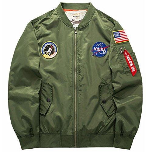 (sandbank Men's USA Flag Lightweight MA-1 Flight Bomber Jacket Windbreaker(US XL =Asian tag 6XL, Army Green))
