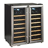 Wine Enthusiast 272 48 02 51W Silent 48 Bottle Double Door Dual Zone Wine Refrigerator, Stainless Steel
