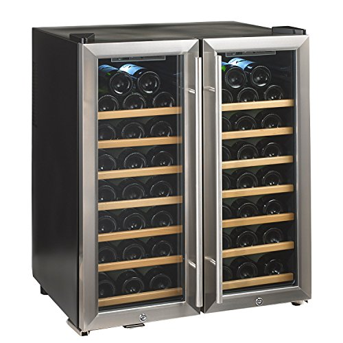 Wine Enthusiast 272 48 02 51W Silent 48 Bottle Double Door Dual Zone Wine Refrigerator, Stainless Steel by Wine Enthusiast