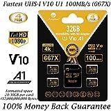 4 Pack 32GB Micro SD SDHC Memory Card Plus Adapter (Class 10 U1 UHS-I V10 A1 MicroSD HC Extreme Pro) Amplim 4X 32 GB Ultra High Speed 667X 100MB/s UHS-1. Cell Phone, Tablet, Camera TF MicroSDHC Flash