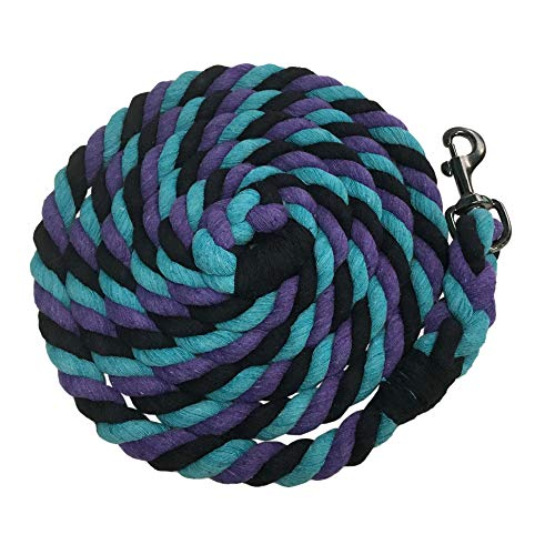 (Kensington 10ft Heavy Cotton Tri-Colored Lead Rope Horse Tack (Lavender Mint))
