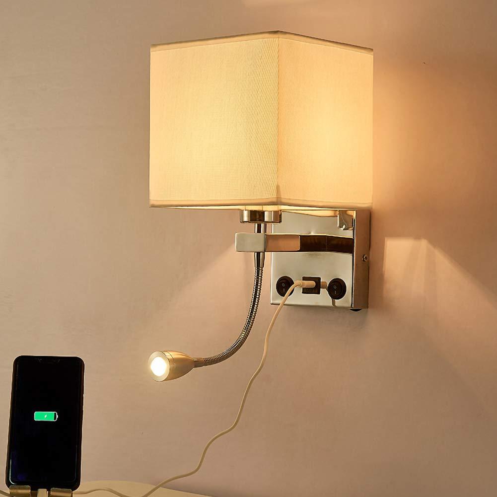 GHL Dormitorio Junto A La Cama Lampara De Pared Luz Led Pantalla De Tela Bajo Techo Familia Lampara De Pared con Interruptor Y Interfaz De Carga USB,8