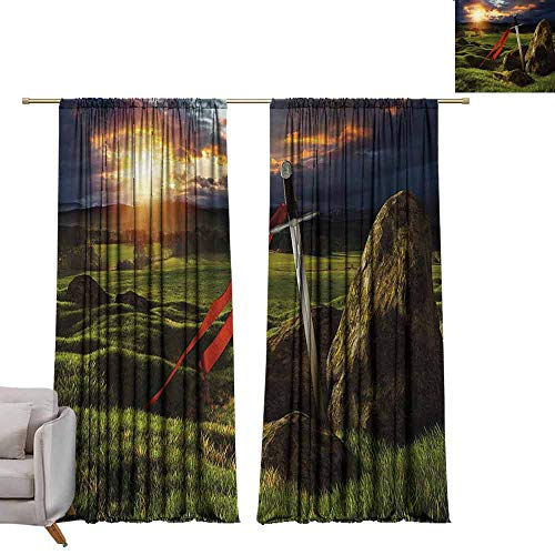 - Thermal Insulated Drapes for Bedroom King Arthur Camelot Legend Myth in England Ireland Fields Invincible Myth Image Suitable for Bedroom Living Room Study, etc. W96 xL84 Green Blue and Red