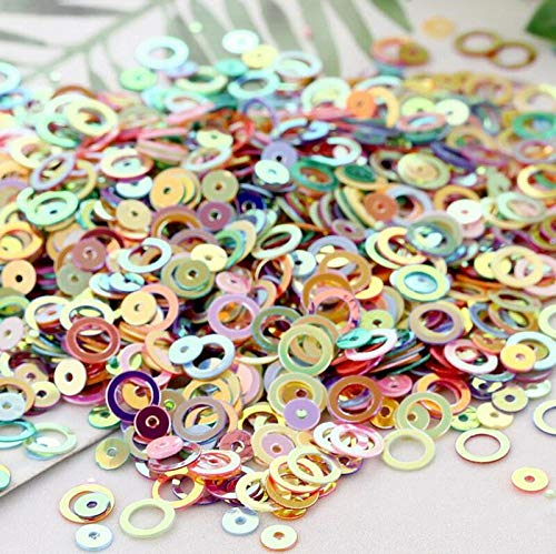 5g/10g 6mm Circles Loose Sequins with Golden Tone Paillette DIY Sewing for Dress (Color - Mix-Color) ()