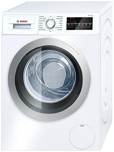 Bosch Front Load Laundry Pair in White with WAT28401UC Washer and WTG86400UC Electric Dryer