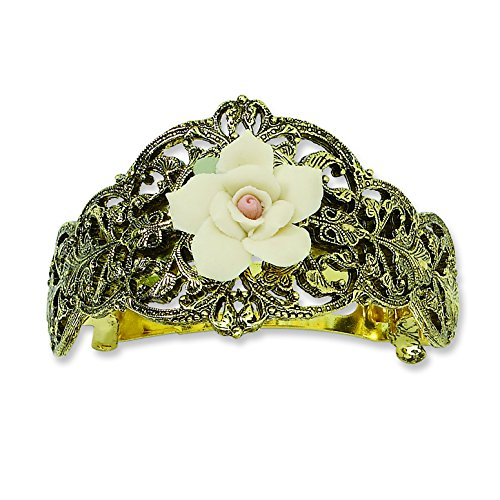 1928 Jewelry Womens Gold-Tone Ivory Porcelain Rose Ponytail Hair Accessory