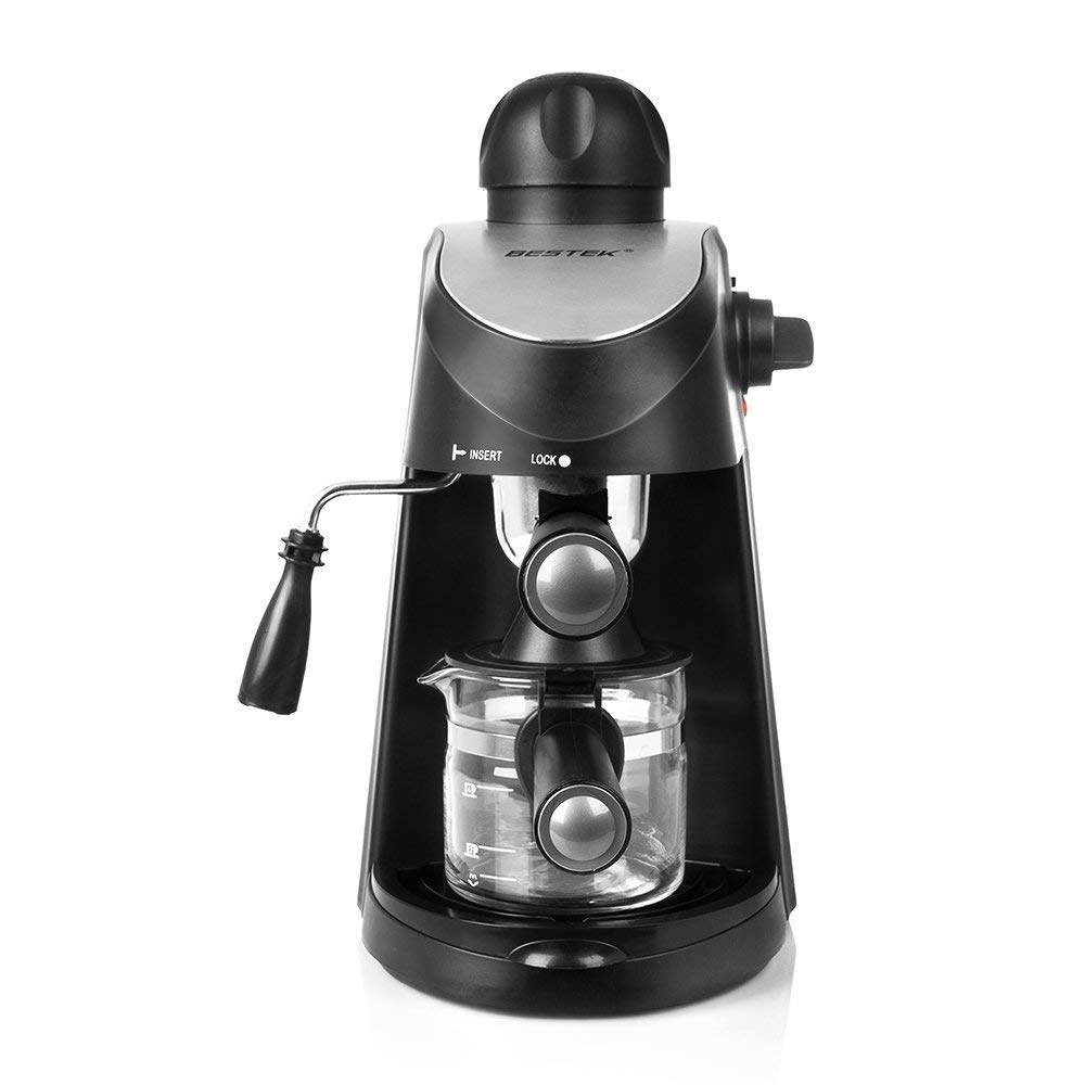 BESTEK 3.5 Bar Steam Espresso and Cappuccino Maker Coffee Machine, Carafe Included [ETL Listed]