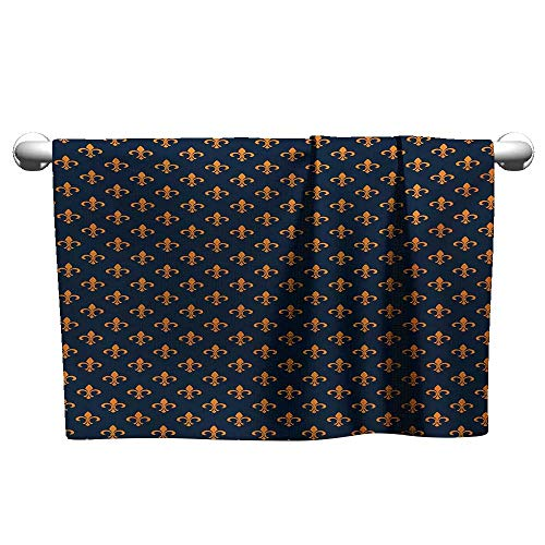 - alisoso Fleur De Lis,Small Bath Towels Floral Pattern with Pointed Buds and Curved Leaves Ancient Western Motifs Travel Towel Quick Dry Indigo Orange W 35