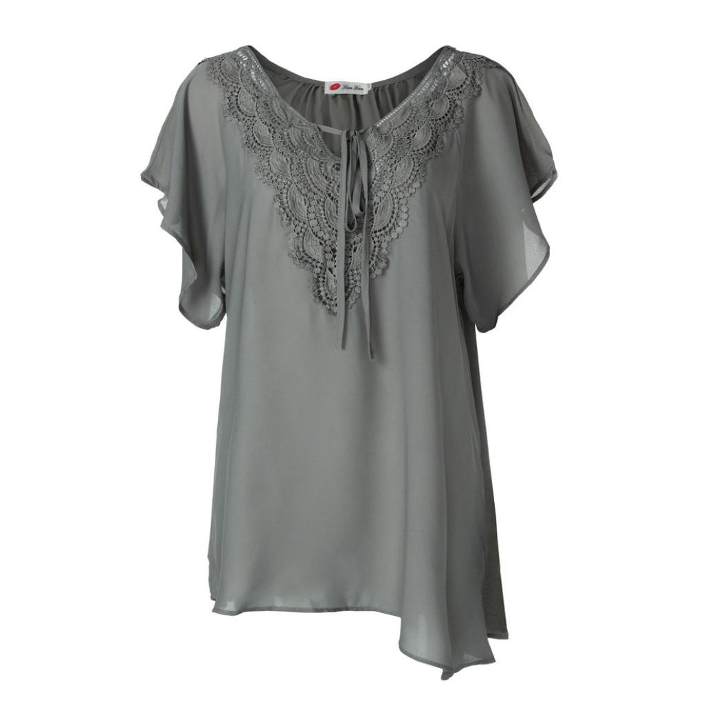 Maonet Women Chiffon Lace Patchwork Loose T-Shirt Blouse Plus Size Short Sleeve Tops (3XL, Gray)