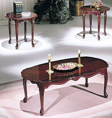 Benzara BM154507 Essex Coffee and End Table Set (3 Pack), Cherry (Essex Coffee Table)