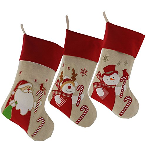 3d Plush (Wewill Lovely Christmas Stockings Set of 3 Santa, Reindeer, Snowman Xmas Character 3D Plush Linen Hanging Tag Knit Border 17-Inch (3))