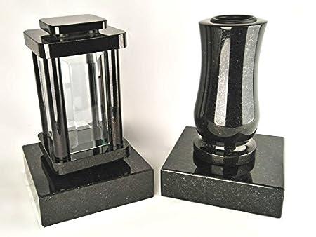 designgrab Modern Grablampe mit Vase und 2 Stück Sockel aus Granit Schwedisch Black SS1 schwarz, Grabschmuckset