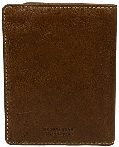 Brown Bear - Portadocumenti e banconote BB Country No. 6, in vera pelle di bufalo, con scomparti per carta di identità, carte, patente e banconote, no tasca portamonete, stile sportivo con cuciture in