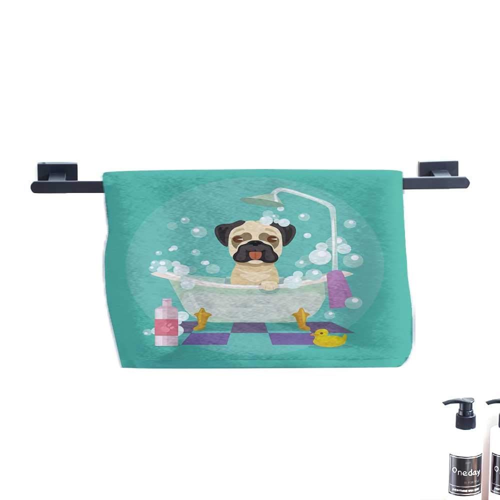 color10 W31\ color10 W31\ warmfamily Nursery Quick Dry Towel Pug Dog in Bathtub Grooming Salon Service Shampoo Rubber Duck Pets in Cartoon Style Image W31 x L63 Teal