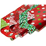 American Greetings Paper and Foil Reversible Christmas Bulk Gift Wrapping Paper Bundle, 4 Rolls; Polka Dots, Trees, Snowmen and Snowfalkes, 120 Total sq. ft.