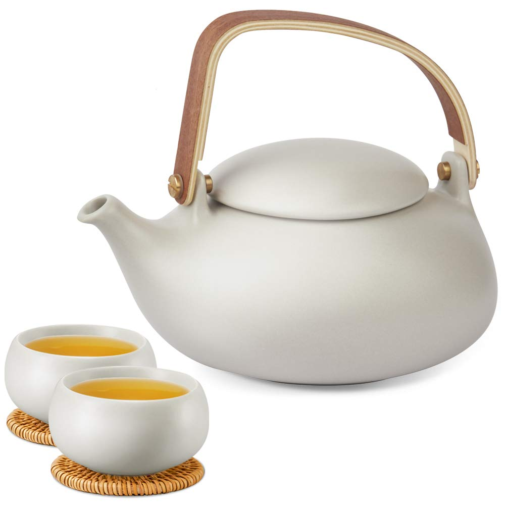ZENS Teapot Cups Set with Infuser,Modern Frosted Ceramic Japanese Tea Pot 27 Ounce with 2 Kongfu Teacup & Rattan Coasters for Loose Tea Women,Grey by ZENS