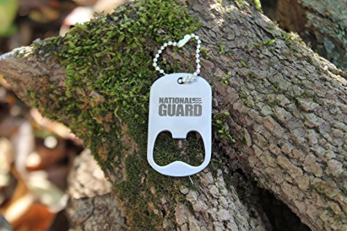 US National Guard Laser Engraved Dog Tag Style Stainless Steel Keychain Bottle ()