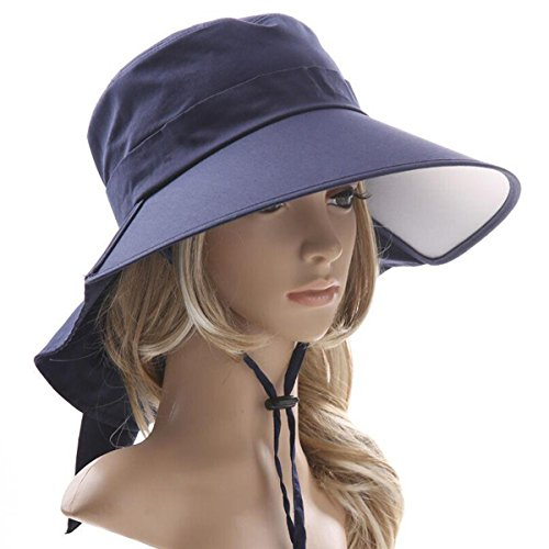 Ebeauty Womens Summer Flap Cover Cap Cotton Anti-UV UPF 50+ Sun Shade Hat With Bow Wide Brim Adjustable (Hats For Wholesale)